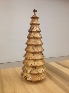 Spalted Pecan christmas tree turned for Jo Ann Yancy for her 80th birthday.