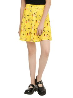 Pokemon Go Pikachu Repeat Allover Character Lined Circle Skirt Nintendo Jr Xs-Xl
