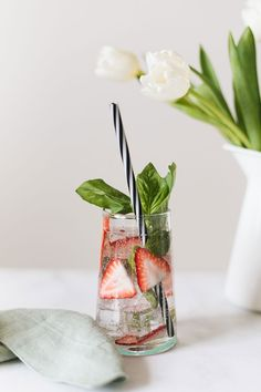 strawberry basil caipirinha recipe, perfect for a spring brunch, easter, mother's day or unexpected st. patrick's day celebrations. #cocktail #caipirinha #recipe #cocktailrecipes