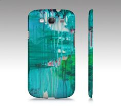 BLUE MONSOON Samsung Galaxy S3 or S4 Hard plastic by EbiEmporium, $40.00 Bold Colorful Teal Green Blue Rainy Day Rain Storm Fine Art Abstract Acrylic Painting, Whimsical Design