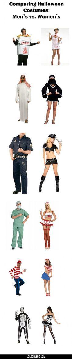 Comparing Halloween Costumes: Men's Vs. Women's #lol #haha #funny