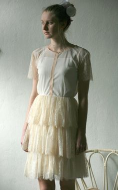 Elegant tulle and lace cream short layer dress with cotton slip dress