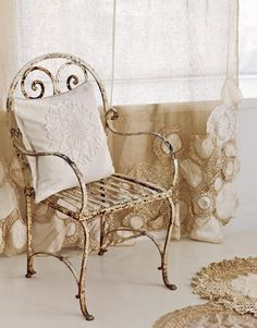 Beautiful wrought iron chair and ivory curtain. So pretty. Little Shop Of Vintage shabby chic Decor Crafts, Easy Crafts, Sewing Crafts, Sewing Projects, Craft Projects, Craft Ideas, Wrought Iron Chairs, Lace Doilies, Doily Art