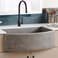 Features:  -Farmhouse collection.  -40% Lighter than traditional concrete and scratch.  -UPC/cUPC compliant.  -Stain resistant.  -Faucet not included.  Installation Type: -Farmhouse/Apron/Undermount.