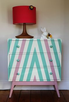 Pink and green chevron chest of drawers