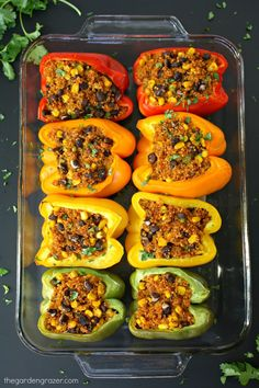 Mexican Quinoa Stuffed Peppers. Yum! I also added some chopped cilantro & a bit of shredded cheddar (around 1/4 c.) to the filling. It would be great with some cheddar on top as well. I used 1/4 tsp. salt -- will add 1/2 tsp. next time. We all loved these! JS