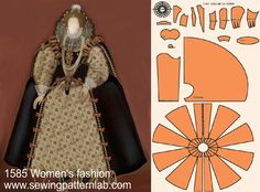 If you want this pattern with your personal measurements, please . Barbie Patterns, Costume Patterns, Dress Patterns, Barbie Costume, Barbie Dress, Historical Costume, Historical Clothing, Elizabethan Dress, Mode Renaissance