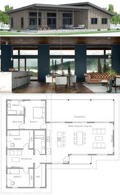 House Plans, New Home Plans, Home Plans, - Traumhaus - Dream House Plans, Small House Plans, Modern Bungalow House Plans, Modern Floor Plans, House Layouts, House Goals, Modern House Design, Building A House, Building Ideas
