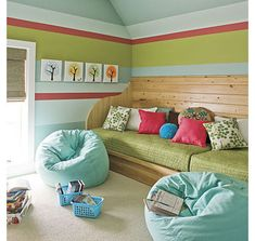 7 Tips to Combine a Playroom and Guest Room - Daybeds provide an instant space for guests to sleep or children to read on.