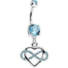 Aqua Cubic Zirconia Infinite Love Heart Dangle Belly Ring   Body Candy Body Jewelry #bodycandy