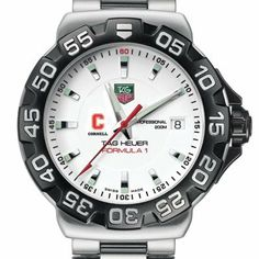 "Cornell University TAG Heuer Watch - Men's Formula 1 Watch with Bracelet by TAG Heuer. $1495.00. Authentic TAG Heuer watch only at M.LaHart & Co.. TAG Heuer international two-year warranty. Officially licensed by the Cornell University. Swiss-made Quartz movement.. Unique TAG Heuer presentation box.. Cornell University TAG Heuer men's Formula 1 watch brings sport and style to Cornell by featuring the red ""C"" logo with ""Cornell"" below. Brushed and Polished steel b..."