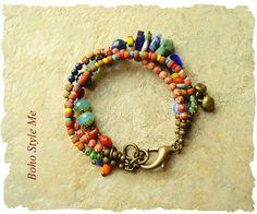Boho Colorful Beaded Bracelet Bohemian Jewelry Lapis Lazuli