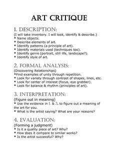 art critique worksheet - Google Search: