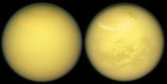 Two Titans --- (full size image here: https://saturn.jpl.nasa.gov/resources/7722/?category=images) These two views of Saturn's moon Titan exemplify how NASA's Cassini spacecraft has revealed the surface of this fascinating world.