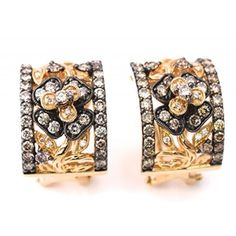 LeVian Chocolate and Vanilla Diamonds 1.40 cttw wide Half-Hoop Earrings 14k Yellow Gold