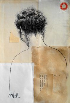 three x drawings on found papers Loui Jover