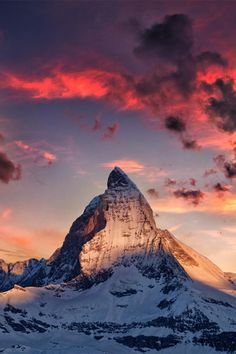 Matterhorn Moutain in the Pennine Alps on the border between Switzerland and Italy.