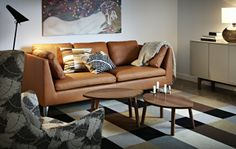 This sofa will acquire a beautiful patina, because full-grain leather becomes softer and gets a darker tone with time. The STOCKHOLM collection, 2013.