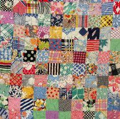"""Vintage Patchwork """"Postage Stamp"""" Quilt"""