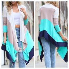 NOW AVAILABLEColorBlock Mint Cardigan NOW AVAILABLE ColorBlock Long Mint, Navy, Taupe, White Cardigan - Materials - 96%Polyester, 4%Spandex - Sizes: S,M,L  PreOrder Only Please ask for a separate listing before purchasing! --- 5 Left Available Sweaters Cardigans