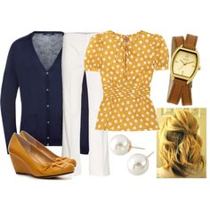 Mustard/Navy work outfit by qtpiekelso on Polyvore