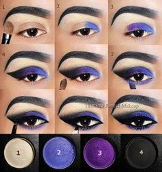 How-To Purple and Black , Eye Makeup Steps, Smokey Eye Makeup, Eyeshadow Makeup, Lip Makeup, Beauty Makeup, Make Up Looks, Makeup Designs, Makeup Goals, Pretty Makeup