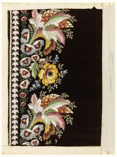 Multicolored silk embroidery in a large-scale floral design of leaf clusters, a yellow rose and other small blossoms on a black ground.