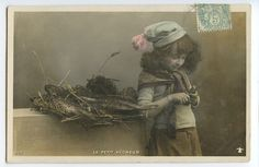 April Fool Day Lucky Fish original vintage 1910's real photo postcard