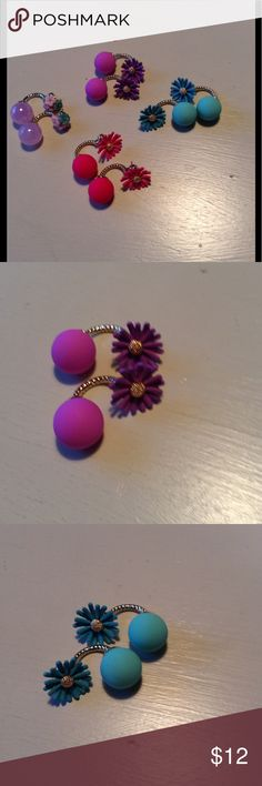 Adorable double sided earrings in 4 colors Hot pink, purple, turquoise, & light lavender glass double sided earrings. Jewelry Earrings