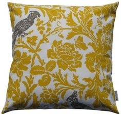 JinStyles Cotton Canvas Parrot Accent Decorative Throw/Toss Pillow Cover (Yellow & White, Square, 1 Cover for 18 x 18 Inserts)