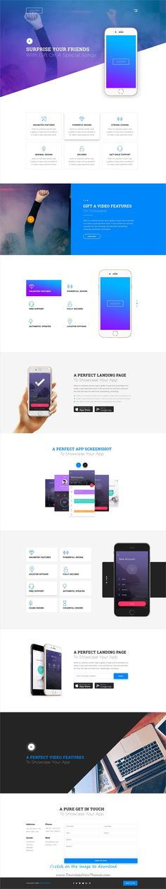 Appian is clean and modern design #PSD template for app #landingpage website with 13 layered PSD pages to download click on image.