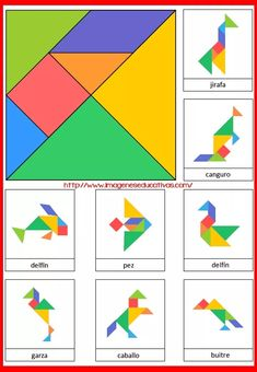 Tangram to print in color with 8 animal models - Anna Giné Roda - - Tangram à imprimer en couleur avec 8 modèles d'animaux Tangram to print in color with 8 models of animals -Model a inprimer Montessori Activities, Learning Activities, Preschool Activities, Kids Learning, Visual Motor Activities, Tangram Puzzles, Math For Kids, Math Games, Kids Education