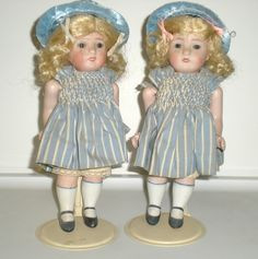 """Antique twin dolls-7""""all bisque-sleep eyes-Germany,open/closed mouth-83 150 RARE"""