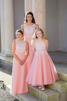 A-line Round Neckline Lace Top Chiffon Ankle Length Junior Bridesmaid Dresses Right Dark Purple Prom Dresses, Gold Bridesmaid Dresses, Wedding Dresses, Girls Short Dresses, Dresses For Teens, Flower Girl Dresses, Mother Daughter Matching Outfits, Baby Girl Dress Patterns, Ladies Dress Design