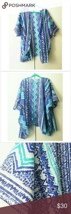 Selling this Handmade Blue Aztec Kimono in my Poshmark closet! My username is: karlijennifer. #shopmycloset #poshmark #fashion #shopping #style #forsale #Other