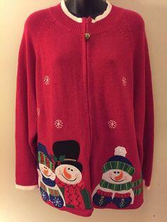 Festive / Ugly Snowman Christmas Sweater Womens / Mens Plus 2X Zippered Cardigan #TiaraInternational #Cardigan