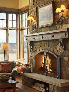 Farmhouse Living Room Fireplace - 30 Gorgeous Farmhouse Fireplace Mantel Design and Decor For Cozy Winter Farmhouse Fireplace Mantels, Rustic Fireplaces, Fireplace Hearth, Home Fireplace, Fireplace Remodel, Living Room With Fireplace, Fireplace Design, Farmhouse Decor, Fireplace Ideas