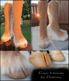 It took alot of failed attempts to make these. The hoof tips are made out of cast rubber on top of a wedge shoe. They are easy to balance in but are a bit uncomfortable due to the in ab...