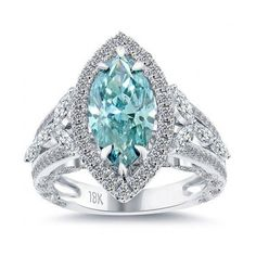 Carat Fancy Blue Marquise Cut Diamond Engagement Ring Vintage Style ~ 35 Gorgeous Diamonds - Style Estate - Love the bling! Diamond Rings, Diamond Engagement Rings, Diamond Cuts, Ruby Rings, Diamond Jewelry, Color Ring, Colour, Ring Verlobung, Bling Bling