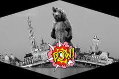 angry bear invades Antwerp  #collage #photoshop #antwerp #bear