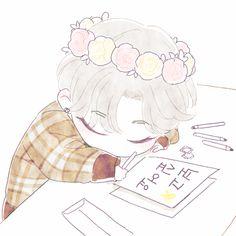 Kpop Drawings, Cartoon Drawings, Art Drawings, Kim Minseok Exo, Baekhyun, Exo Anime, Anime Art, Exo Cartoon, Exo Fan Art