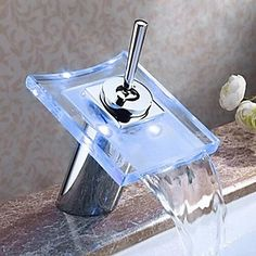 Bathroom Sink Faucet Color Changing LED Waterfall Brass High Grade Faucet (Chrome Finish) – USD $ 67.49