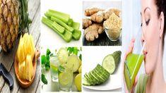 Batido de piña, pepino, apio, jengibre y limón, para reducir tu barriga.