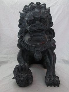 NEW Large FOO DOG LION Ceramic Chinese Guardian Fu Statue Highly Detailed! in Antiques, Asian Antiques, China | eBay