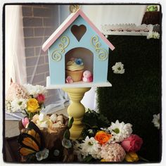 cupcake bird house