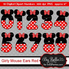 INSTANT DOWNLOAD Girl Mouse inspired clipart numbers clip art Red and Black Model Minnie