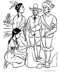 Indian and Pilgrim Coloring Pages | Bible Printables: The First ...