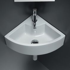 Shop American Imaginations American Imagination AI-696 Wall Mount White Ceramic Corner Vessel Sink at Lowe's Canada. Find our selection of vessel sinks at the lowest price guaranteed with price match + 10% off. Corner Sink Bathroom, Half Bathroom Remodel, Wall Mounted Bathroom Sinks, Undermount Bathroom Sink, Bathroom Ideas, Gold Bathroom, Bathroom Layout, Bathroom Fixtures, Corner Basin