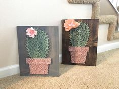 Welcome to my shop! Im a mother of two taking advantage of nap-time by creating amazing conversational piece string art. Each piece is cut, sanded, stained by me, customized by you and enjoyed by all. Pretty single cactus in soft pink (raised) planters pot. Measured 8.5 X 11
