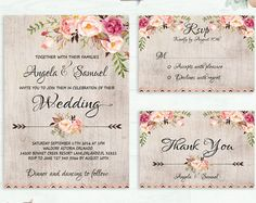 Floral Wedding Invitation Printable Wedding por PreppyDigitalArt